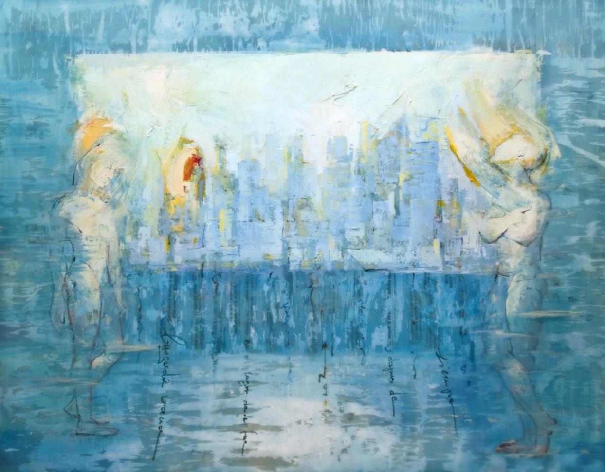 Ciudad desde el mar. acrílico/tela. 145 x 165 cm. 2000€.