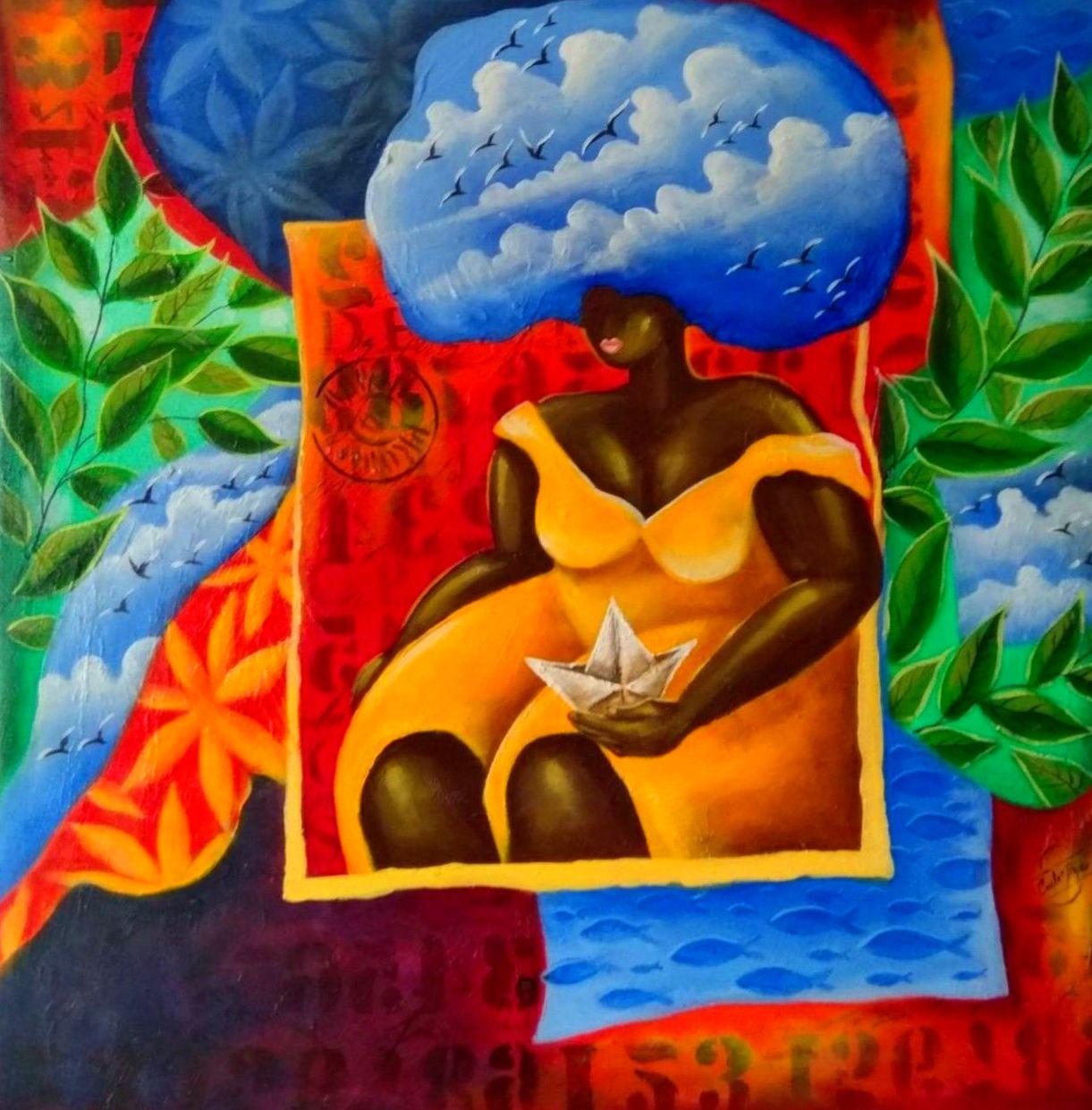 Con la cabeza en las nubes. mixta/tela. 65x65cm. 450€+IVA