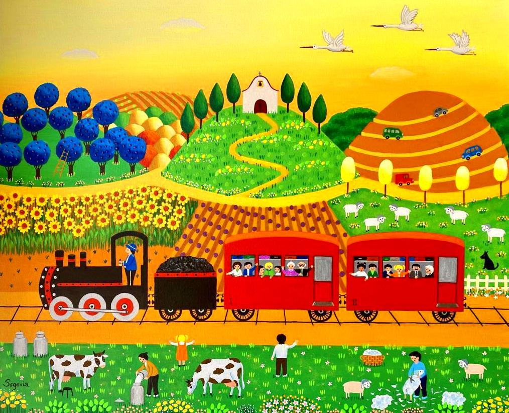El paso del tren.oleo/tela. 1500€.
