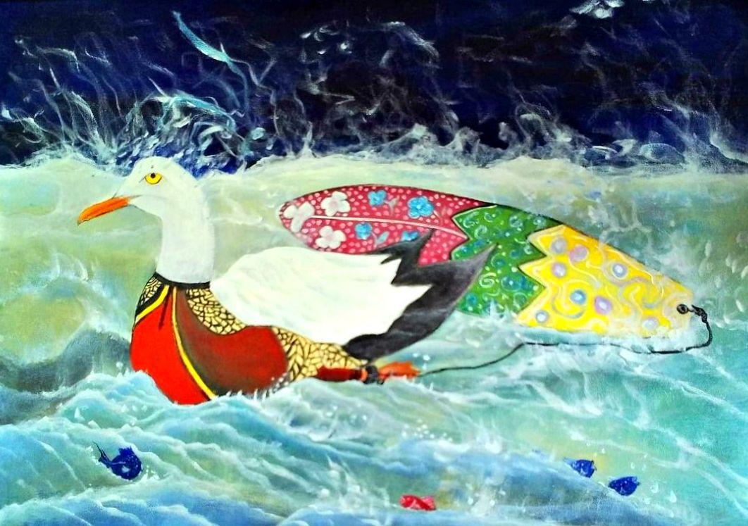 La gaviota surfera. acrilico sobre tela. 55x75cm. 300€