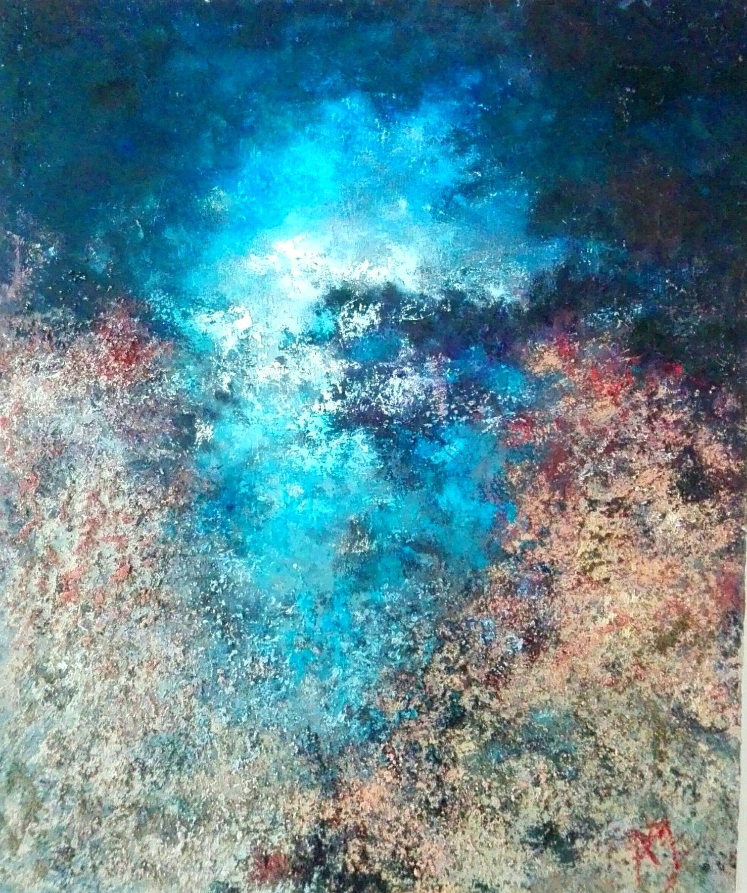claror de lluna dins la cova. mixta/tela. 70x60cm. 800€.