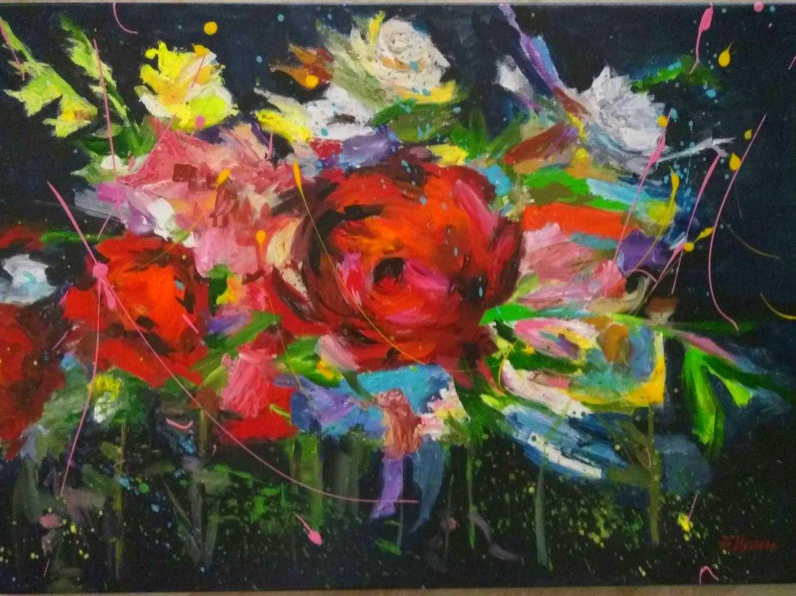 Flores.acrilico/tela. 400€.