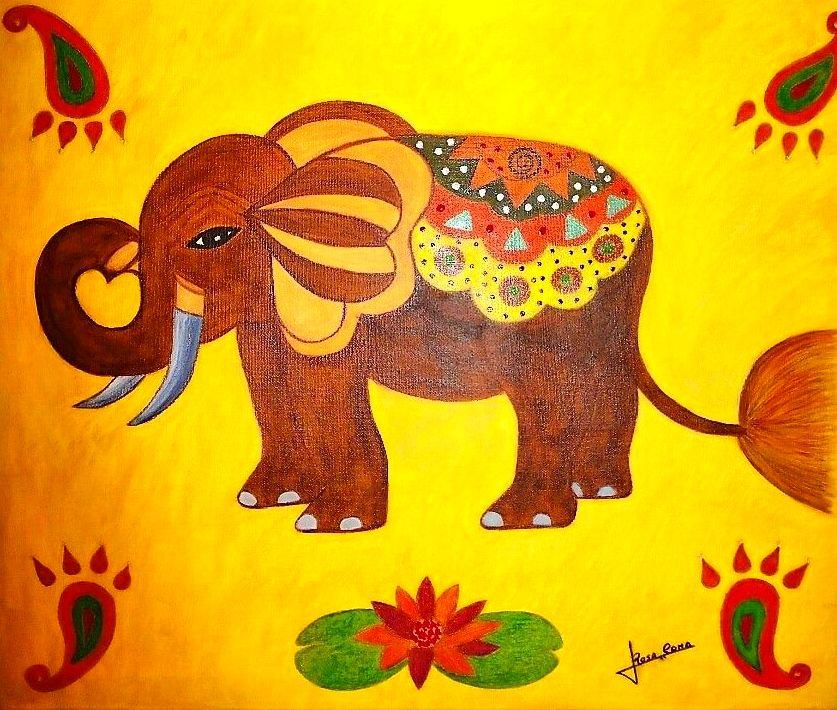 Elefante Hindú. Mixta sobre tela. 450€+iva
