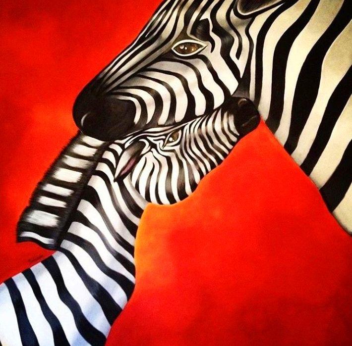 Maternidad, cebras. 100x100cm. oleo/tablex.1300€.