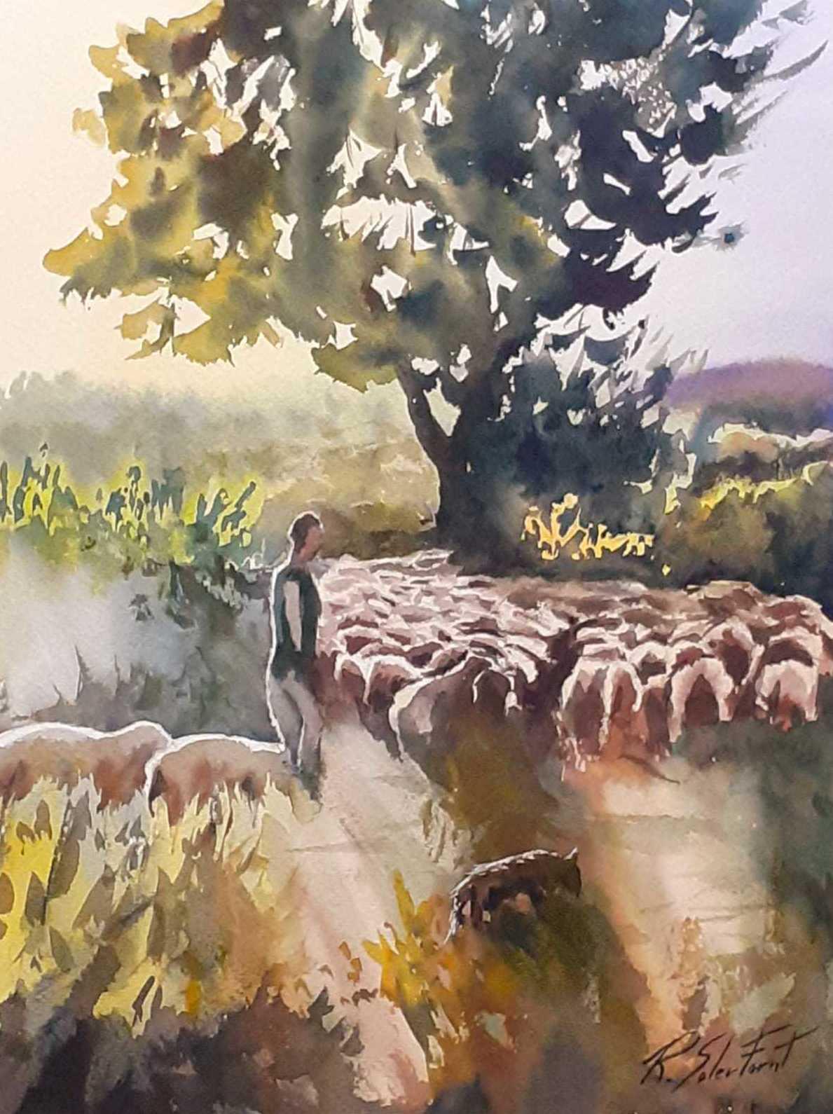 Ramat d ovelles. 35x25cm. acuarela/paper. 325€.