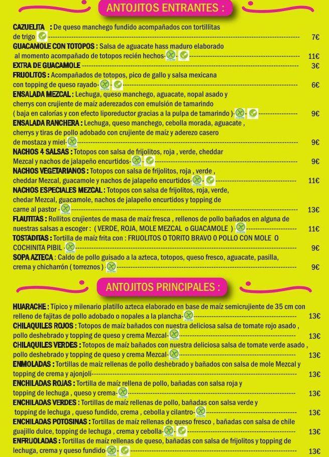 Carta: Carta de Restaurante Mezcal