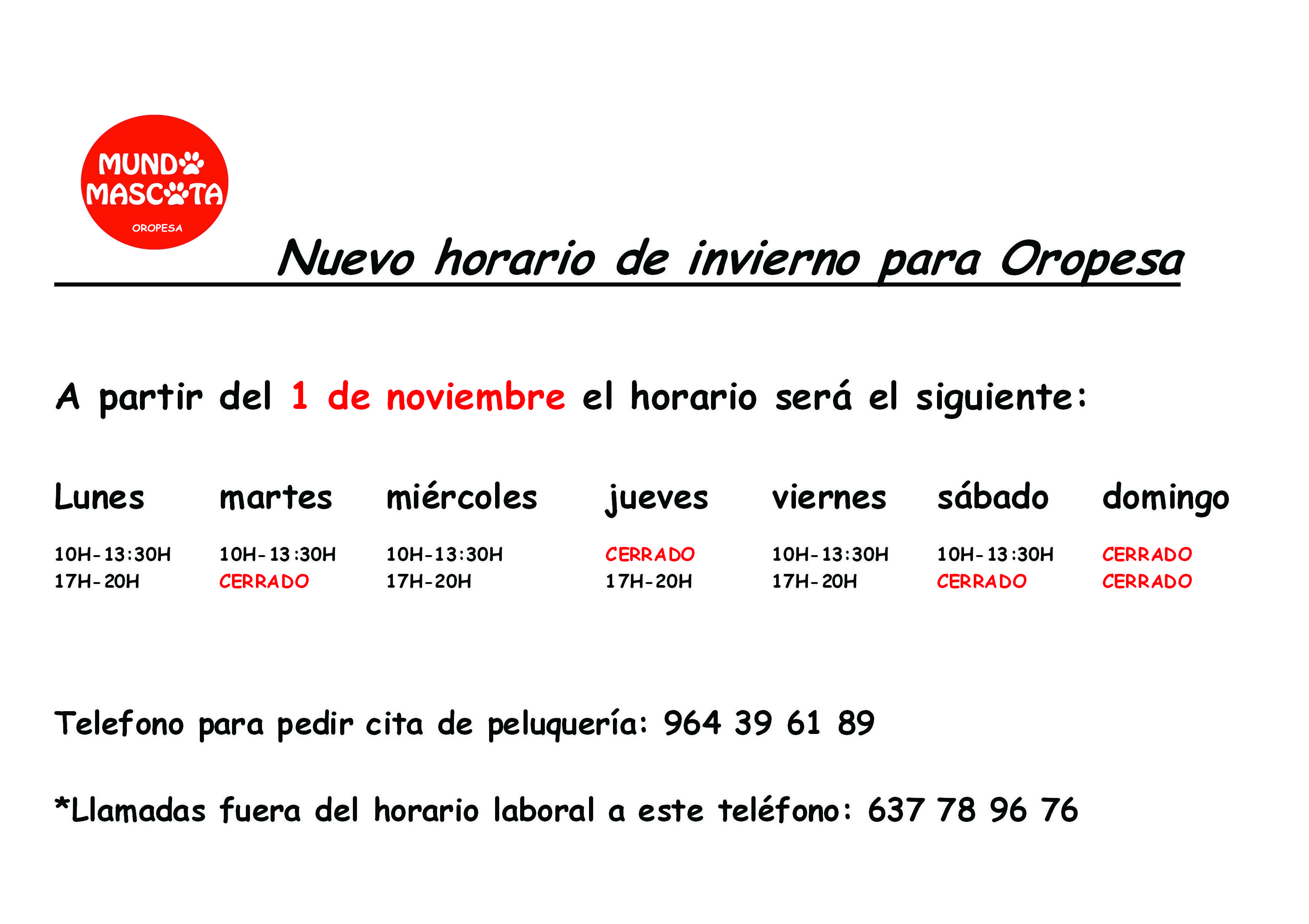 HORARIO MUNDO MASCOTA OROPESA