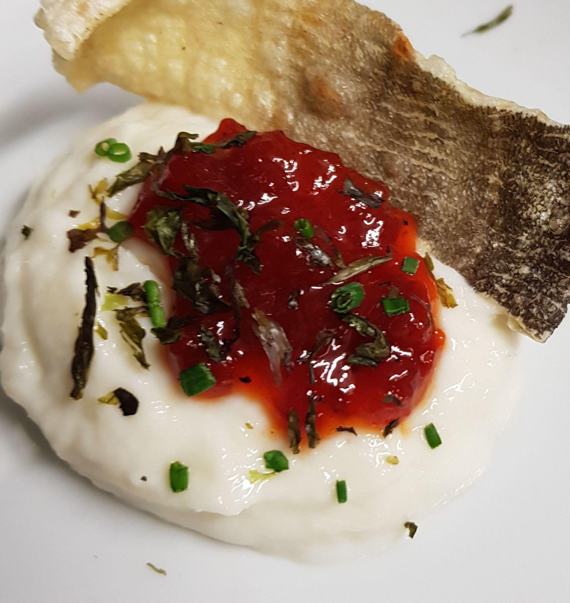 Cuajada de Bacalao con Confitura de Tomate