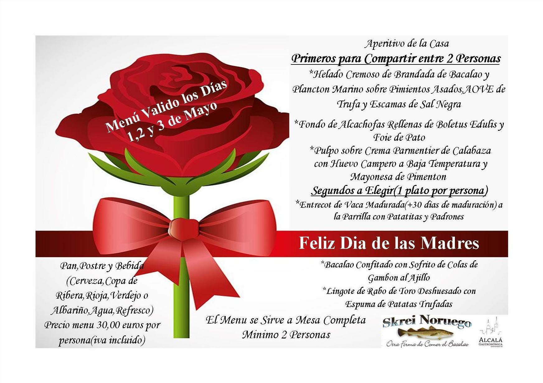 Feliz Dia de las Madres-Menu Valido los Dias 1,2 y 3 de Mayo!!!