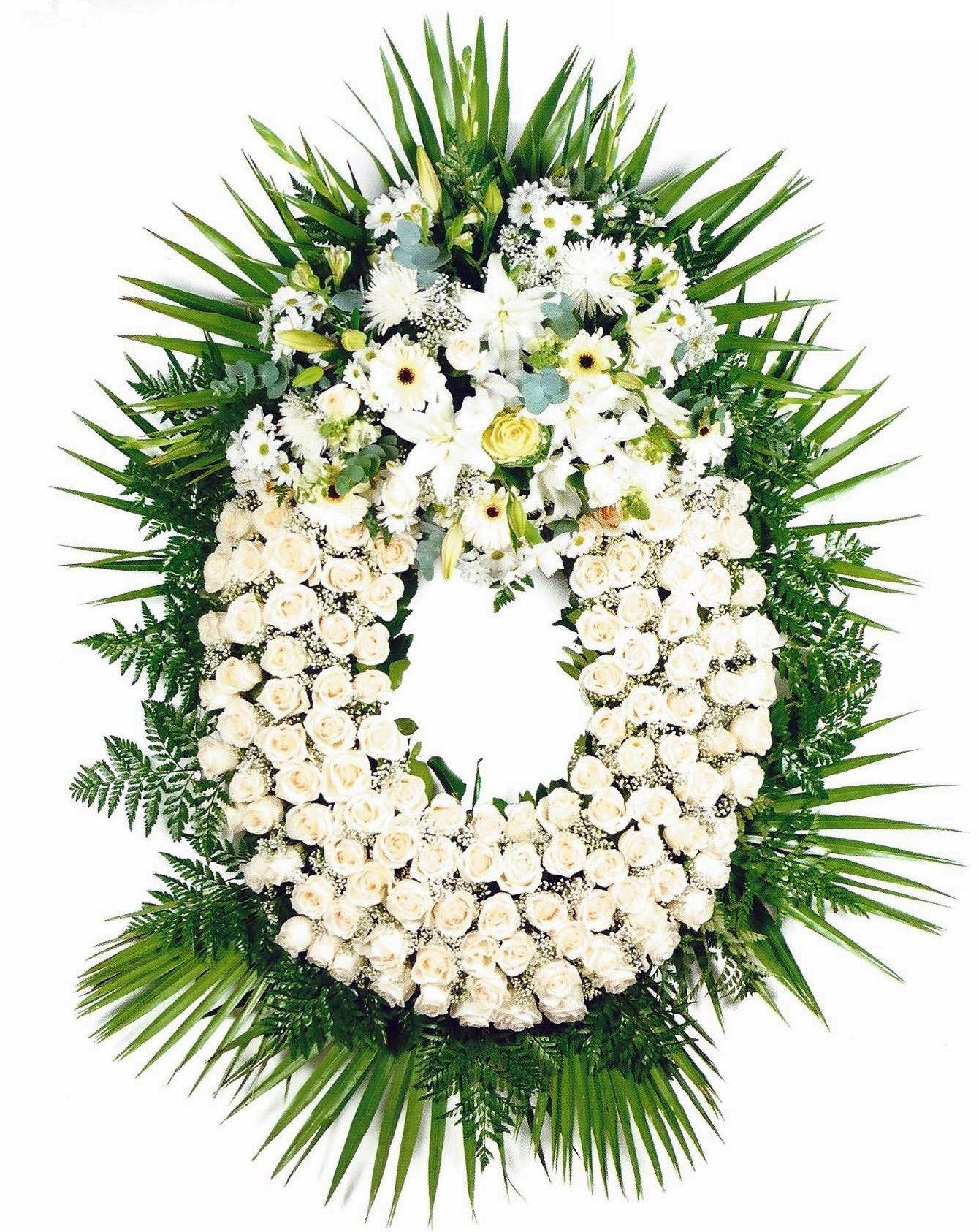 Corona Rosas Blancas: PRODUCTOS Y SERVICIOS  de Floristería Contreras - BARTOLOMÉ CONTRERAS