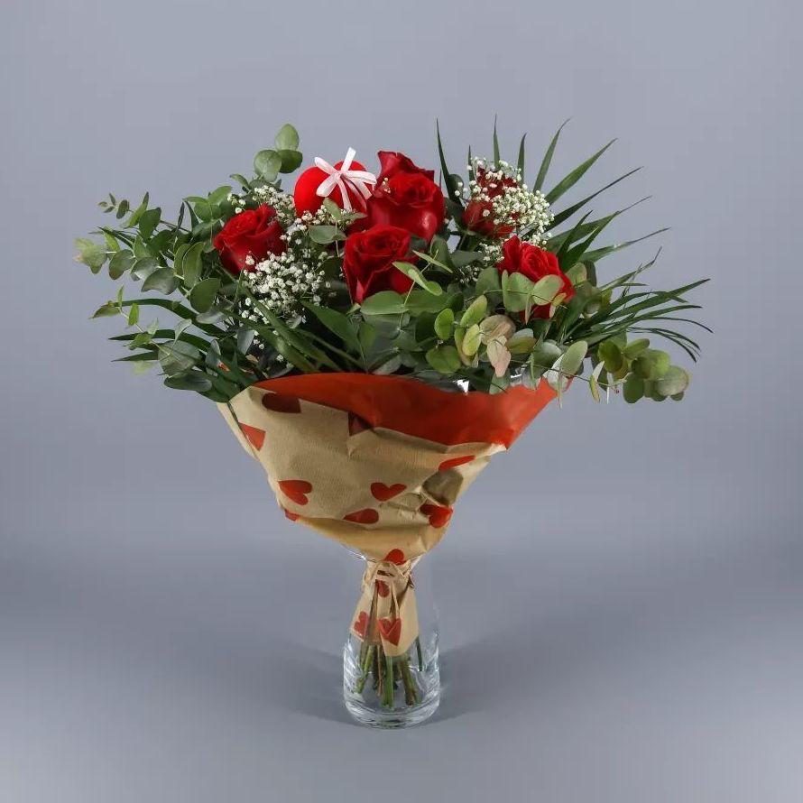 Ramo 6 rosas rojas buquet