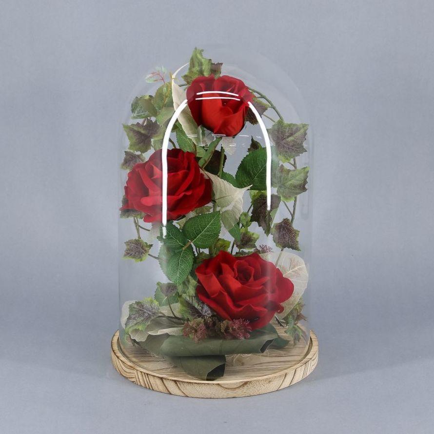 Cúpula de bella y bestia 3 rosas eternas