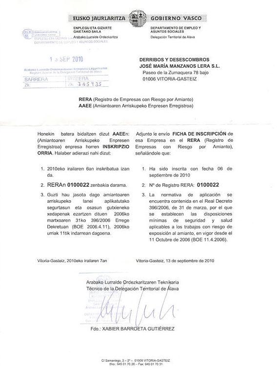 Normativa: Catálogo de RECOEX AMIANTO, S.L.