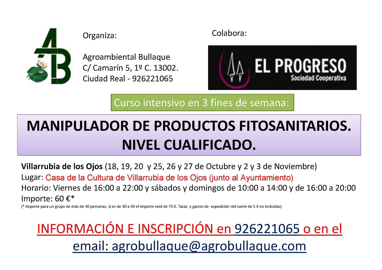 CURSO FITOSANITARIOS NIVEL CUALIFICADO OCTUBRE-NOVIEMBRE 2019 (VILLARRUBIA DE LOS OJOS)
