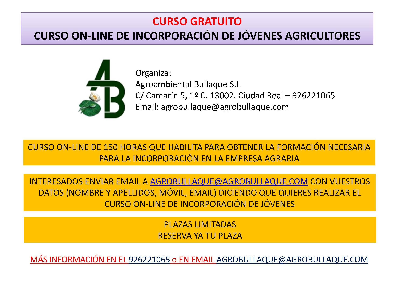 CURSO ONLINE INCORPORACIÓN JÓVENES AGRICULTORES (GRATUITO)