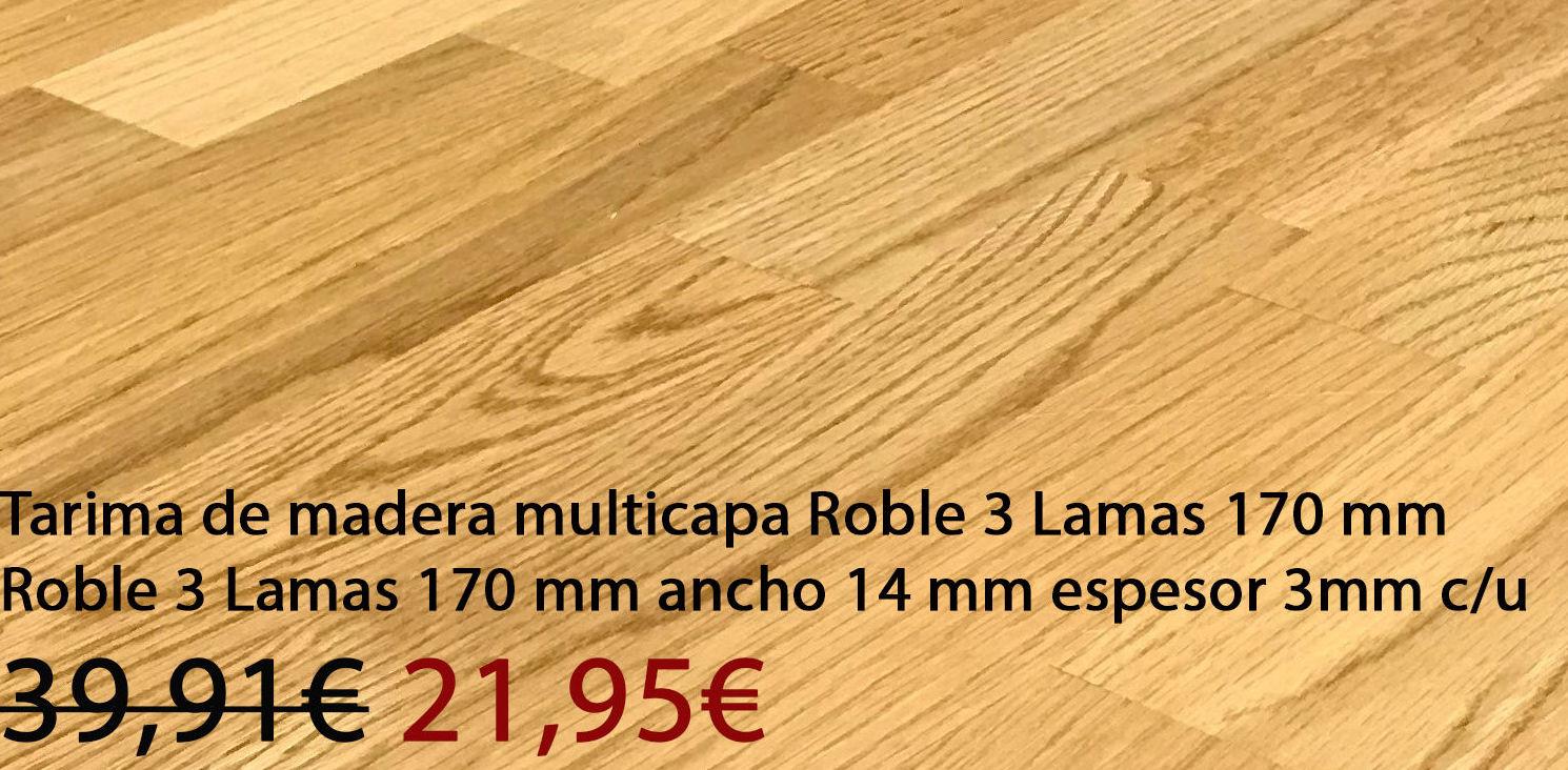 Tarima madera roble multicapa 3 lamas