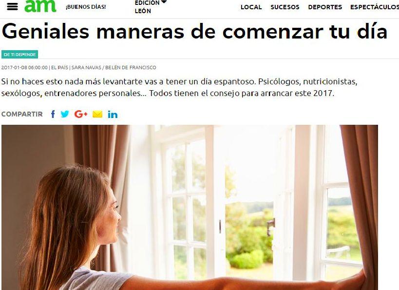 Nueva Edición de mi colaboracón en El País, Consejos para inicir el día