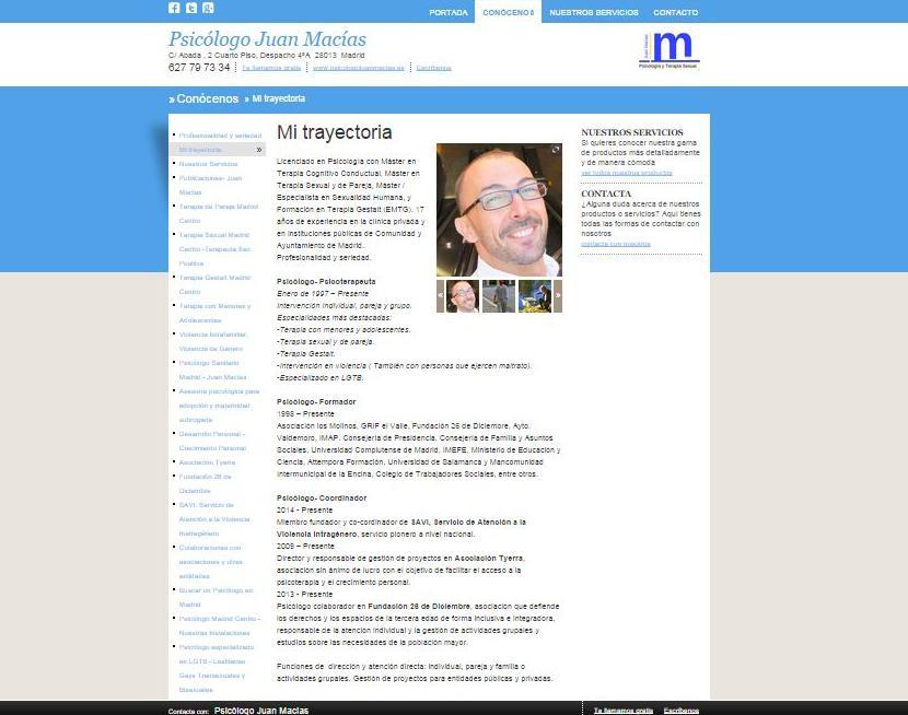 Psicólogo y Sexólogo Madrid Centro: Conoce mi trayectoria: Nuestros servicios de Psicólogo Juan Macías
