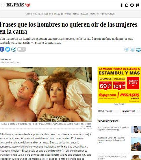 Nueva publicación en El País, Revista Masculina ICON