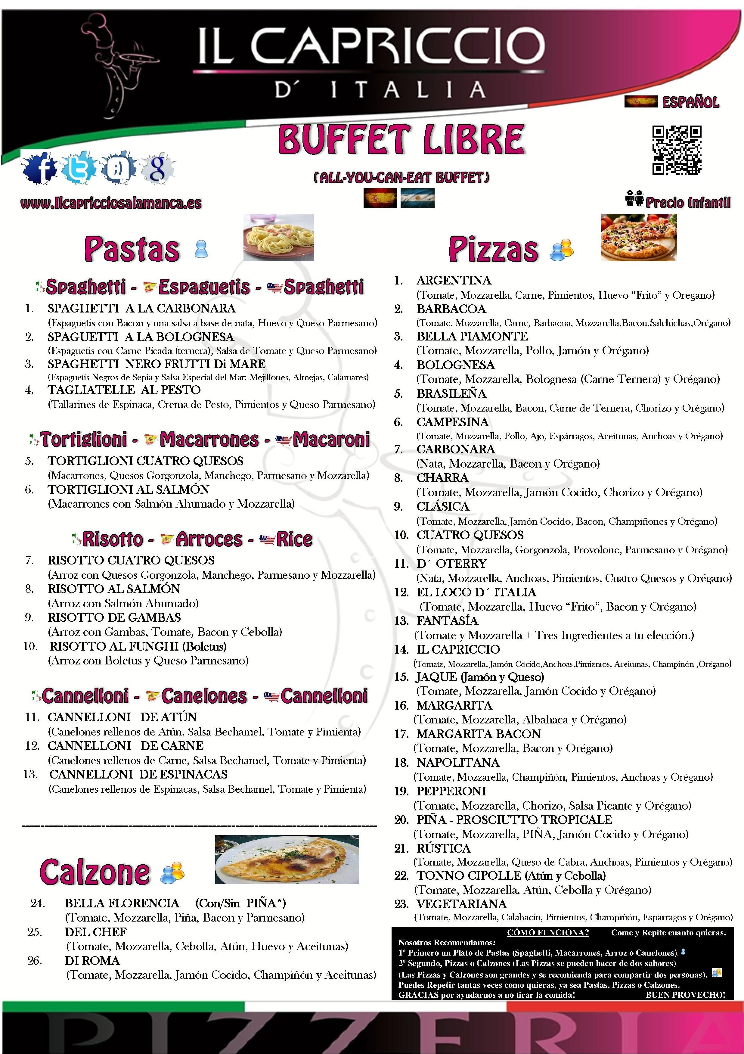 Buffet Libre: Menú Buffet libre de Il Capriccio D Italia
