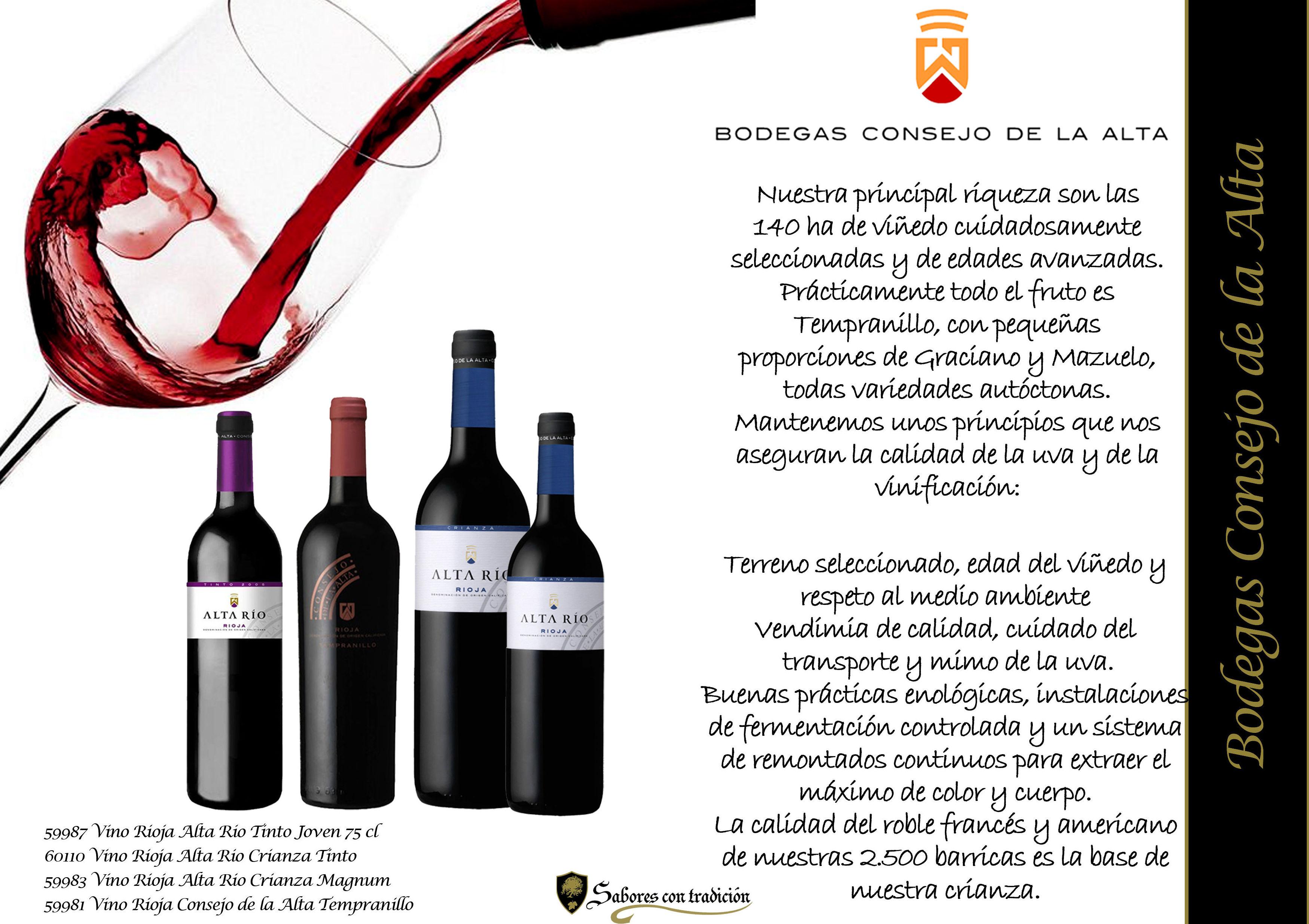"""Vinos """" Bodegas Consejo de la Alta """": Productos de Sabores con tradición"""