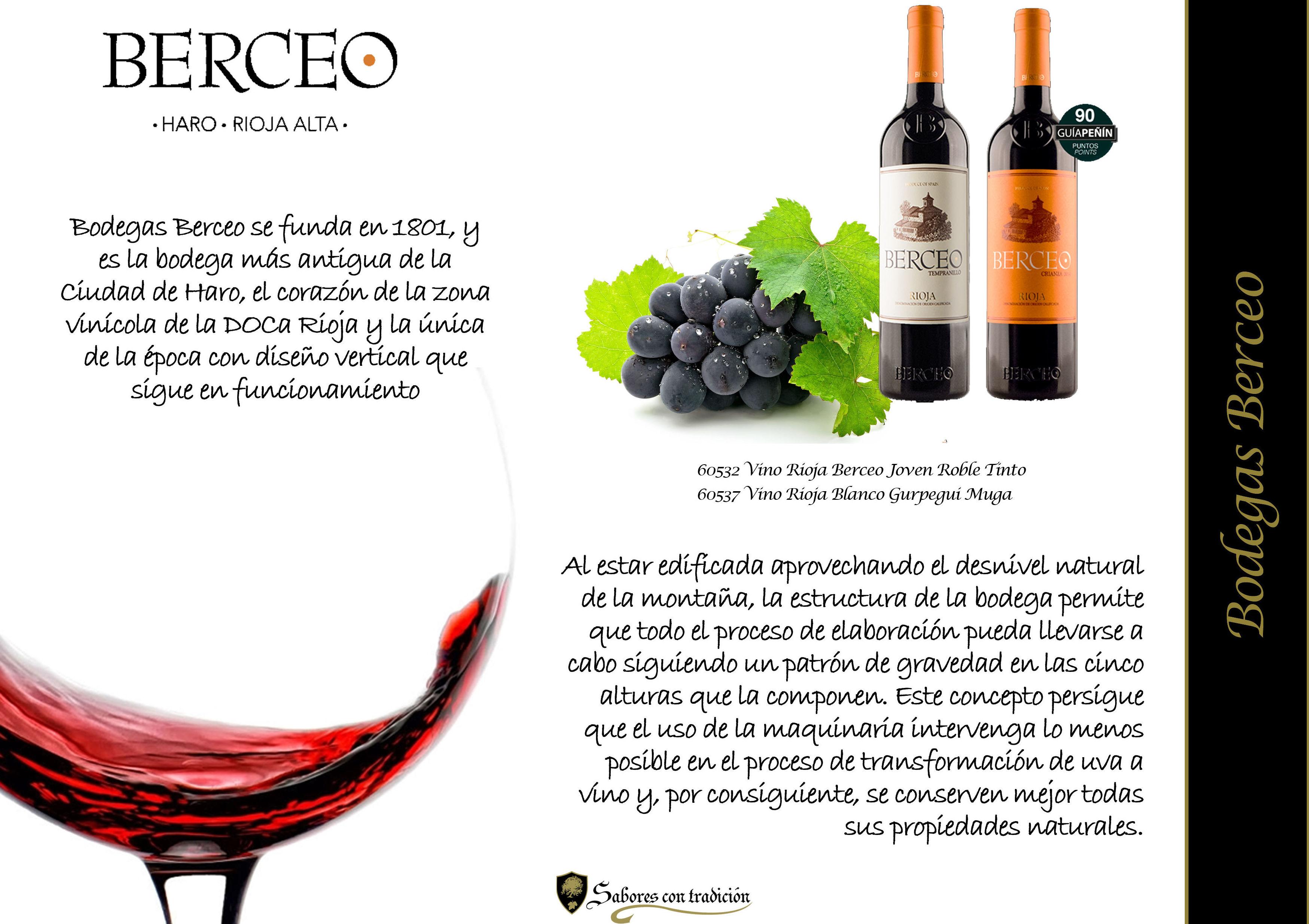 """Vinos """" Bodegas Berceo """": Productos de Sabores con tradición"""