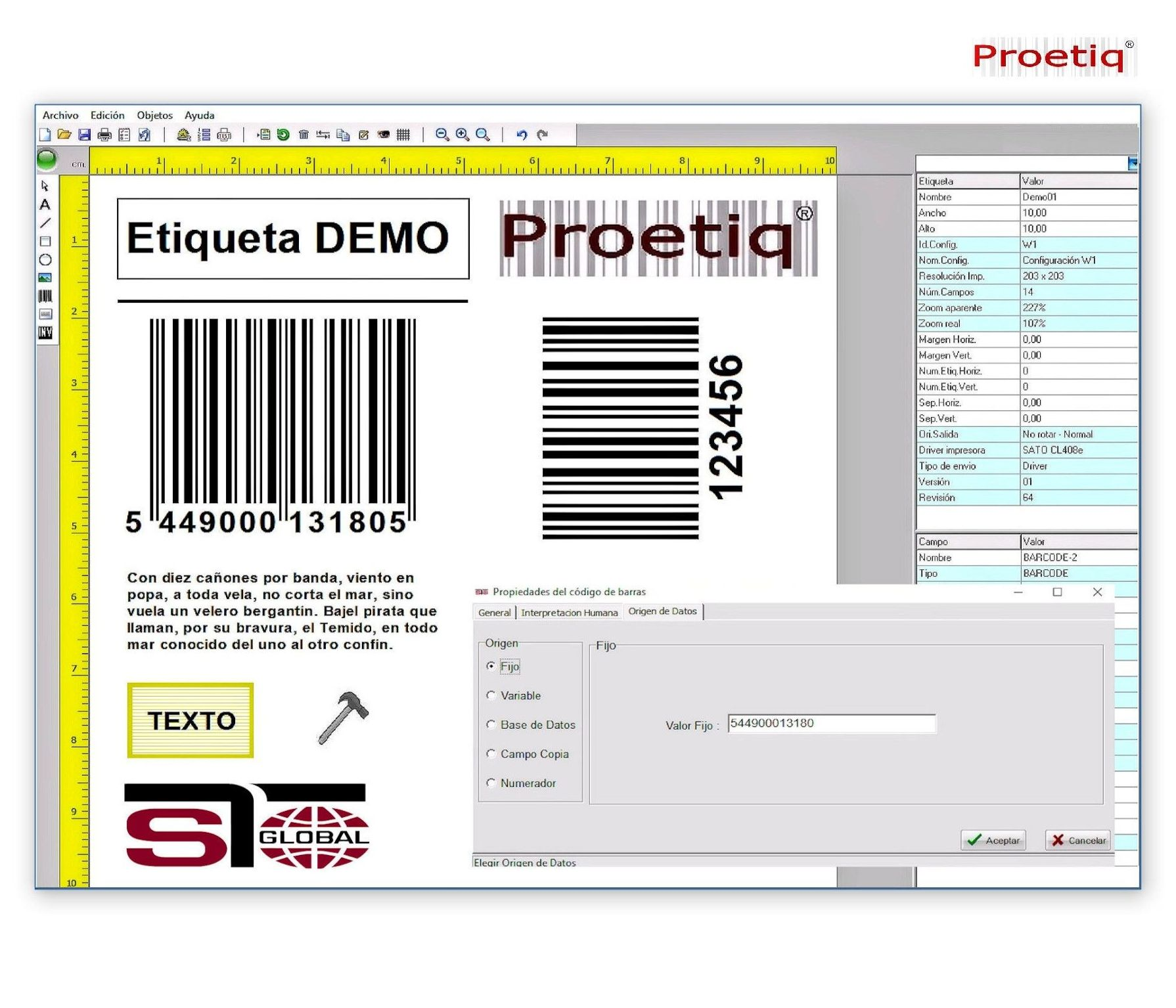 Software de Etiquetado ProEtiq ®: Productos y Servicios de  S T G L O B A L