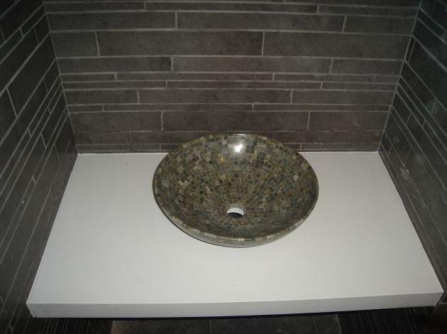 Encimera lavabo de canto ingletado 4 cm