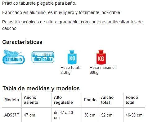 Taburete de ba o plegable leo productos de farmacia - Taburete para bano ...