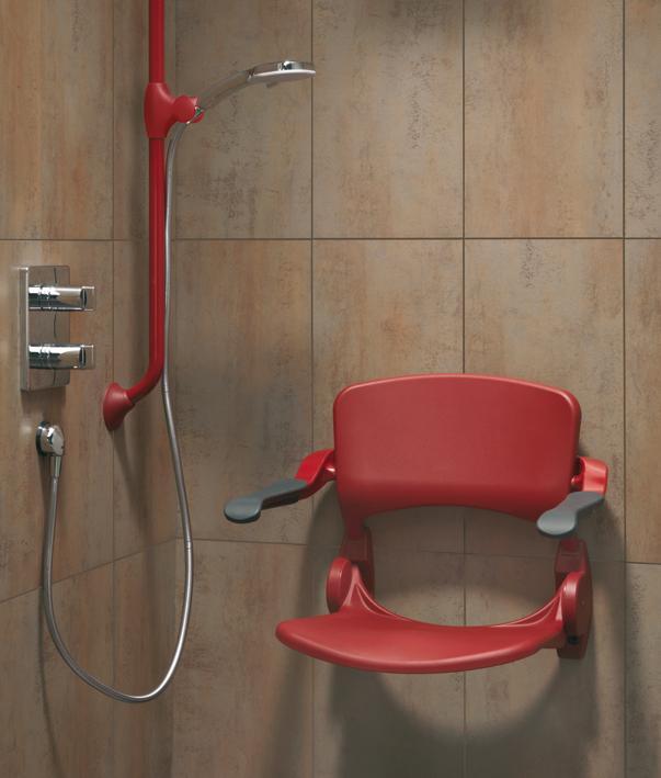 Asiento de ducha abatible con respaldo y brazos linido - Duchas con asiento ...