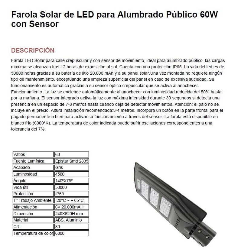 Farola solar: Productos de Centro Led Almería