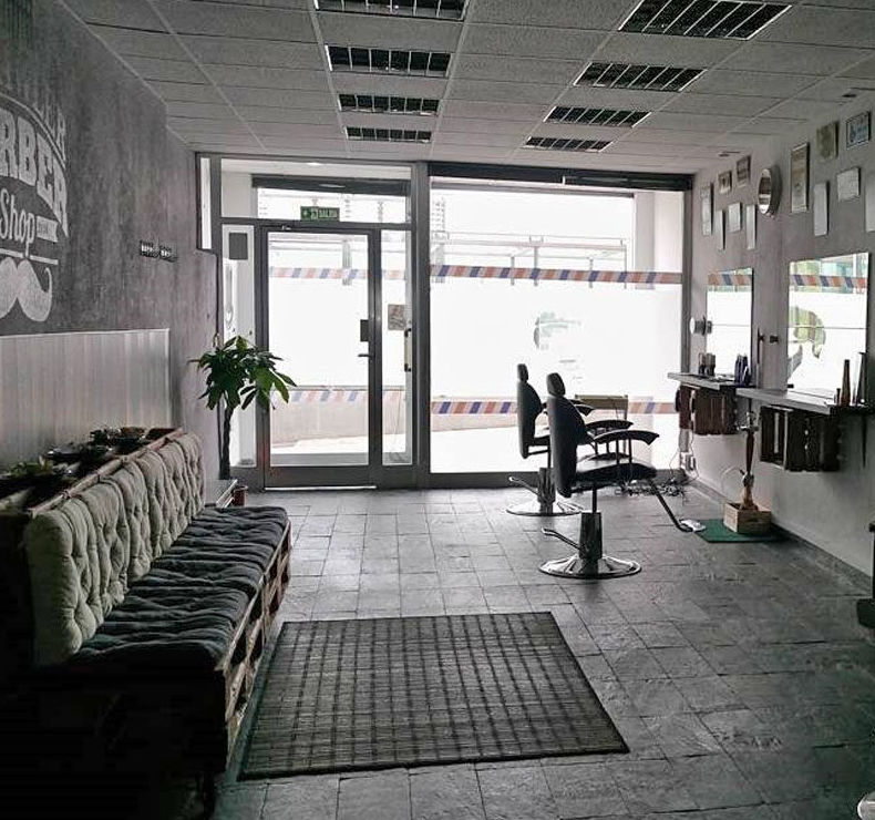 Interior de la barbería