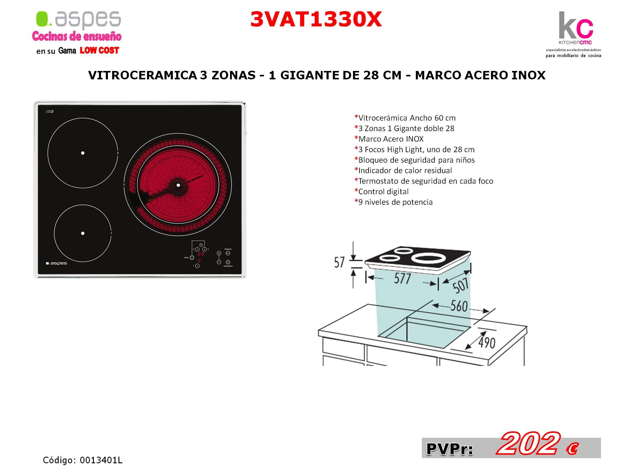 vitroceramica 3 zonas