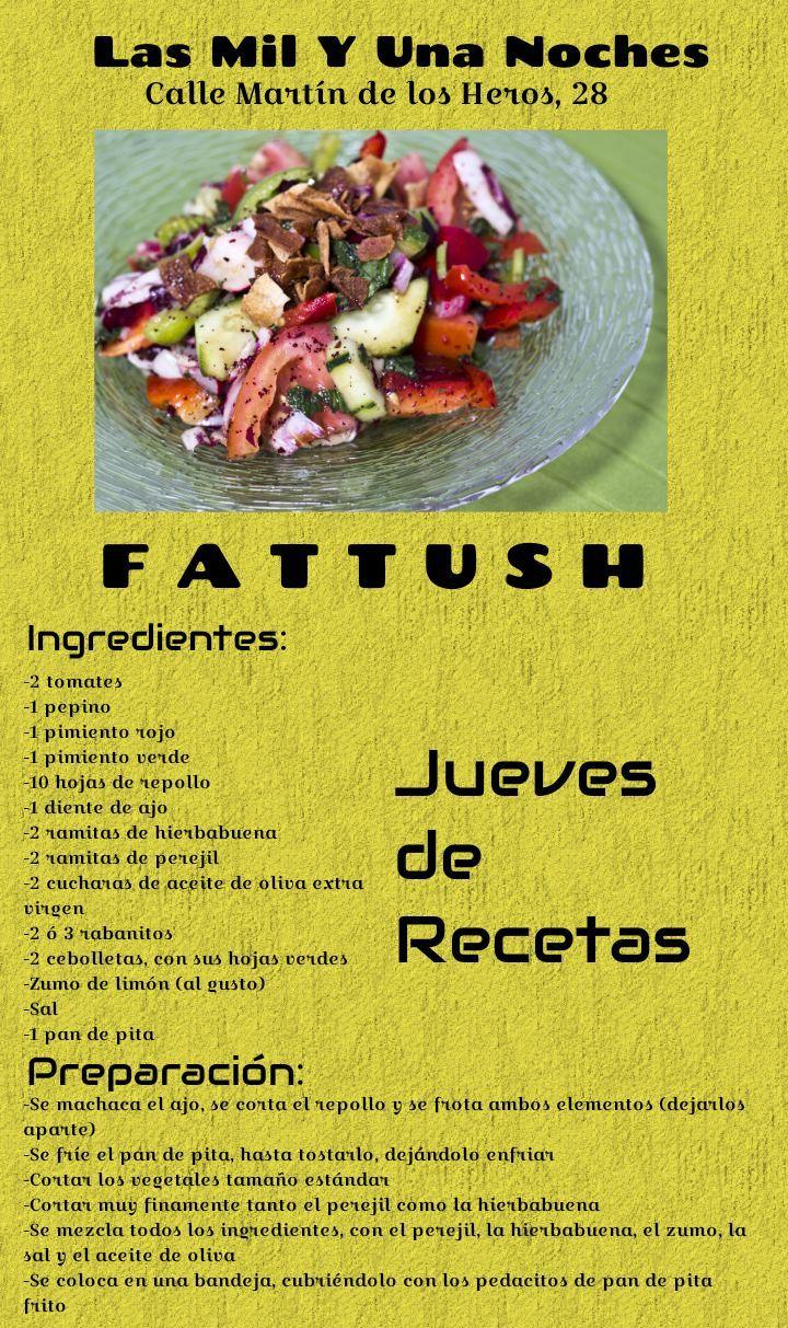 """Jueves de Receta! Esta semana, es el turno del """"Fattush""""! Rica ensalada, idónea para cualquier ocasión"""