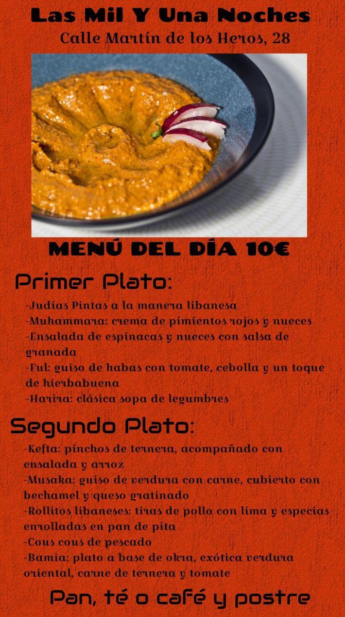 Menú del día 10 Euros en Las Mil Y Una Noches!