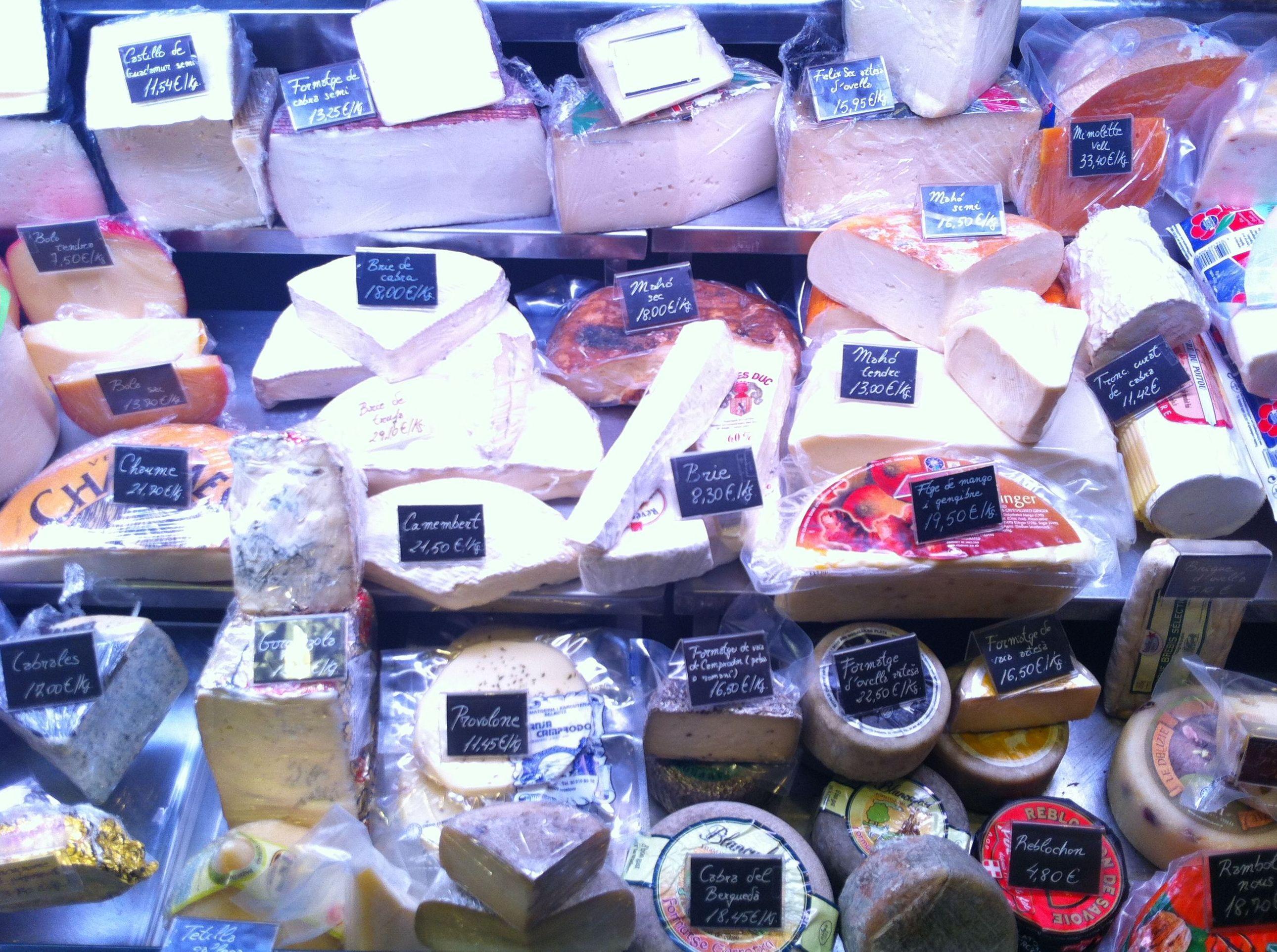 Gran variedad de quesos en Barcelona