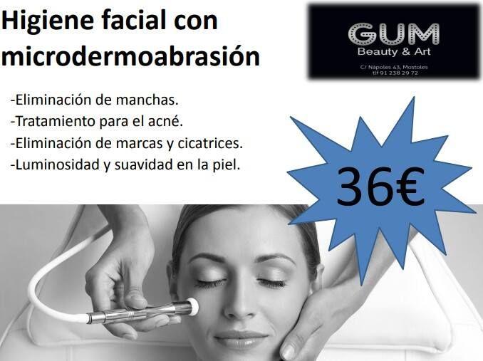 Higiene facial con microdermoabrasión: Productos y tratamientos de Gum Beauty & Art