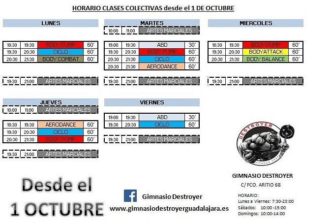 Nuevo horario de clases colectivas a partir de 1 de octubre.