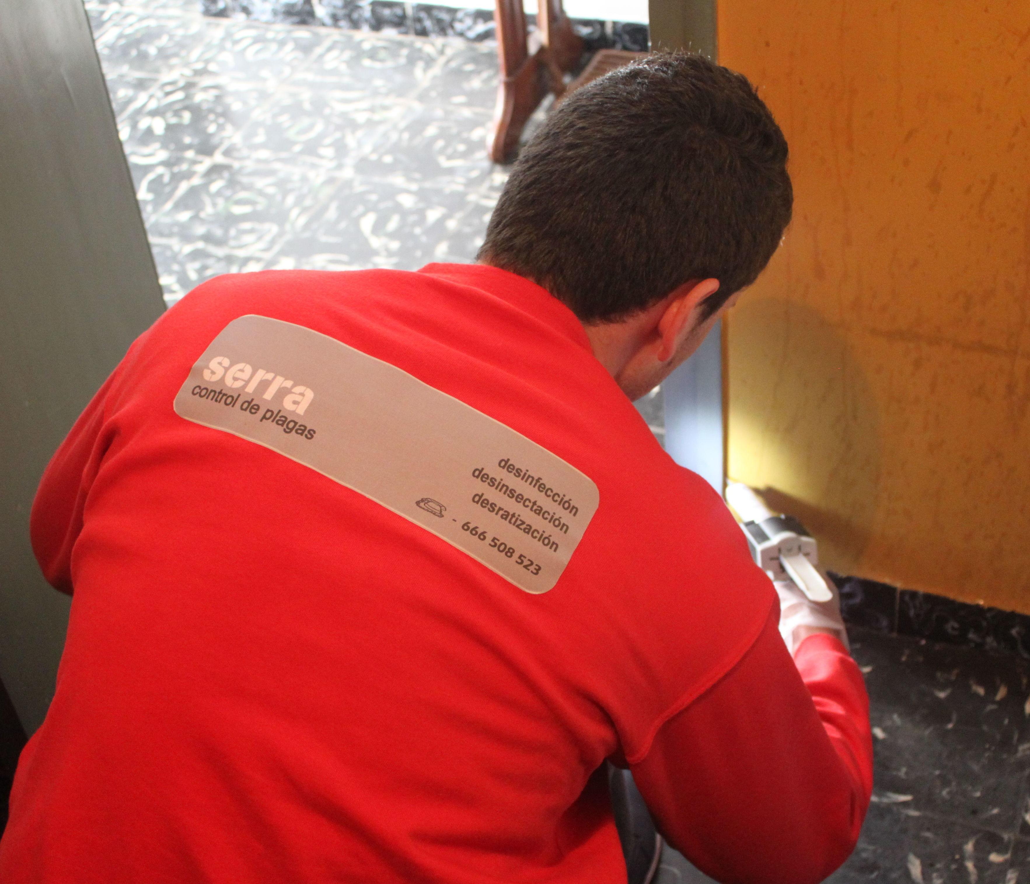 Técnico realizando tratamiento contra cucaracha