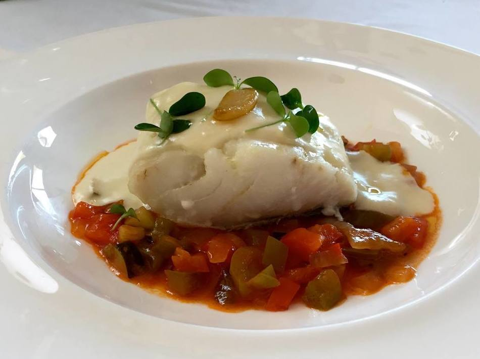 COD WITH GARLIC EMULSION AND RATATOUILLE