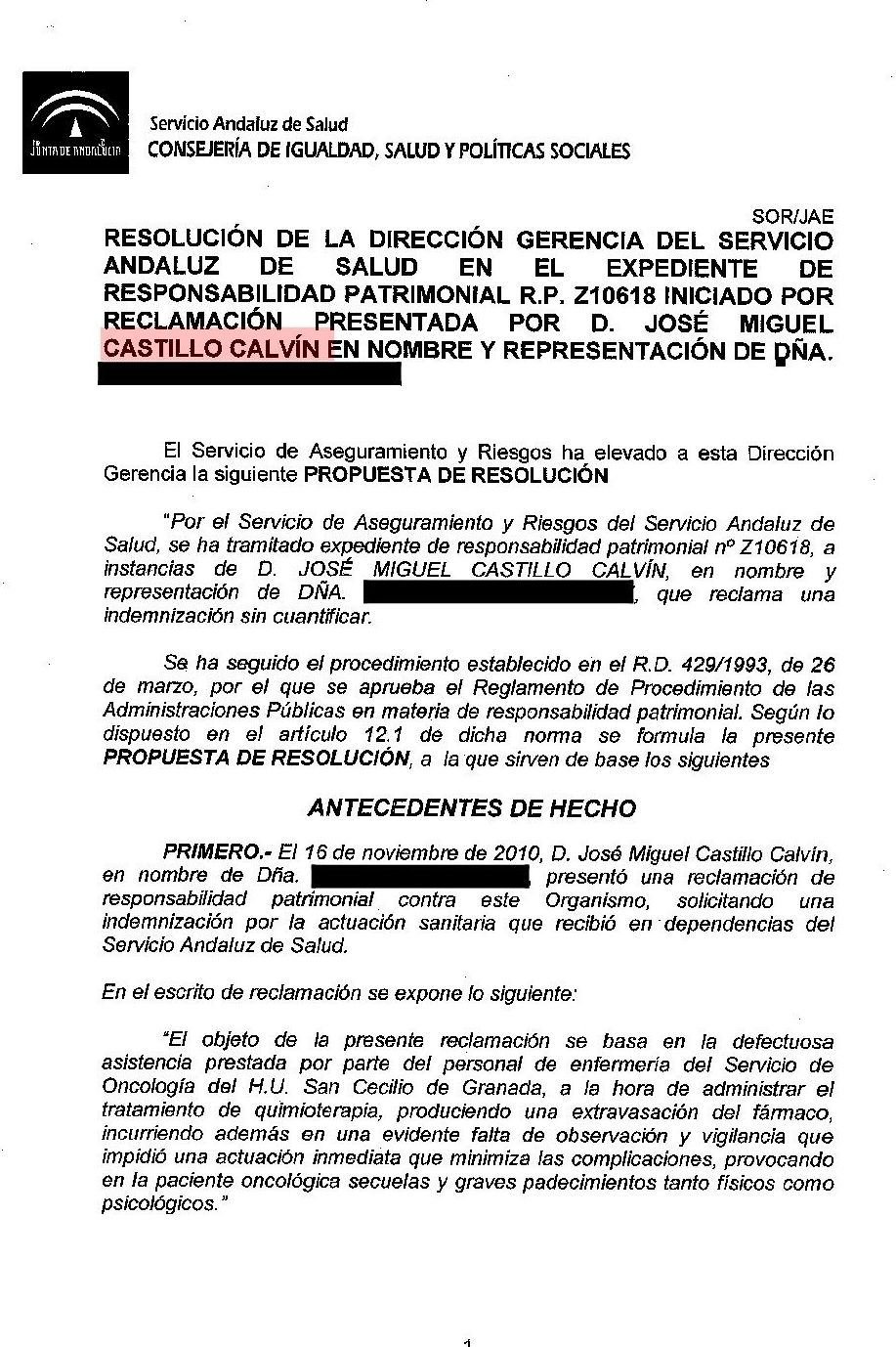 resolución favorable que indemniza negligencia médica