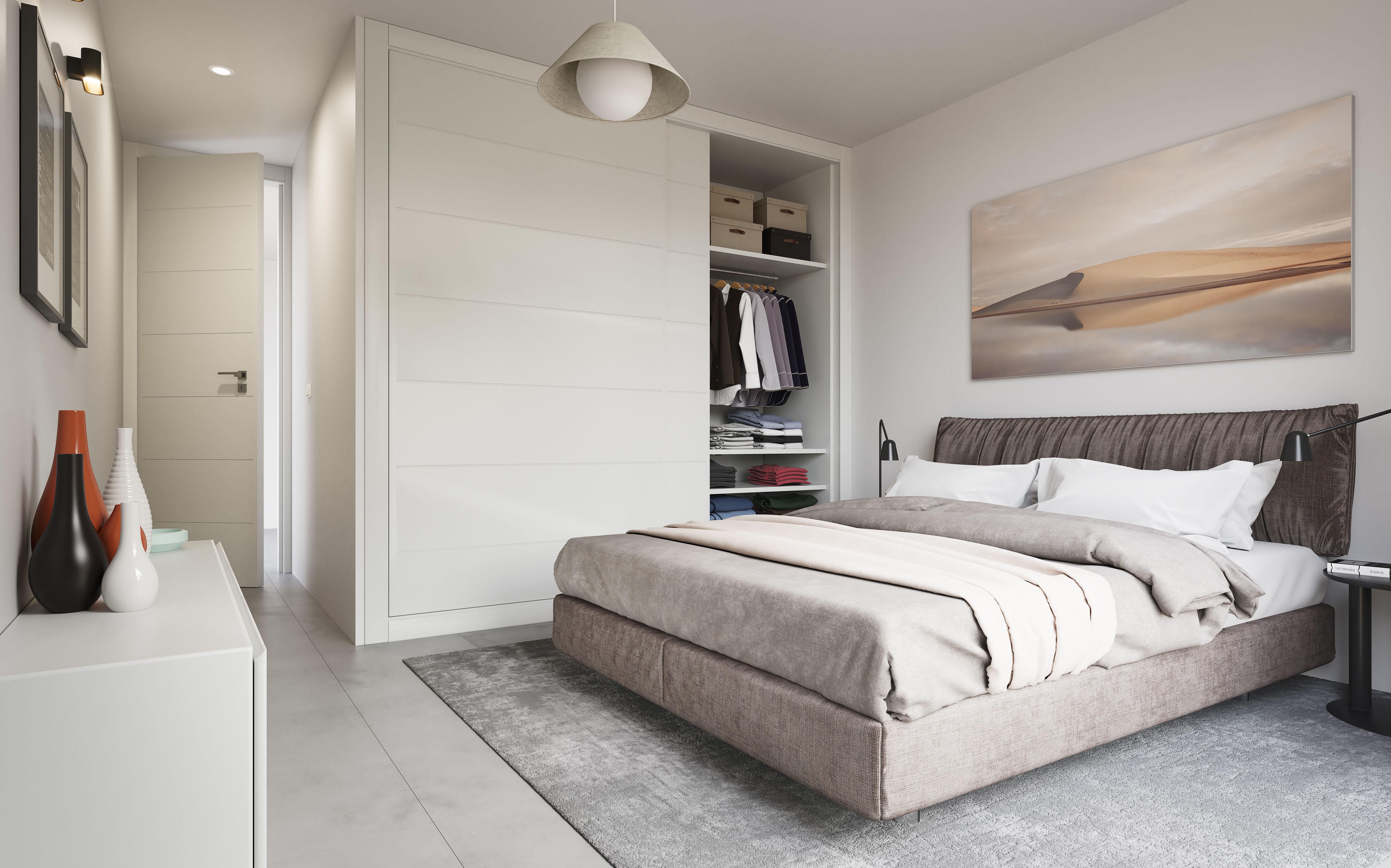 Dormitorio en viviendas pareadas.
