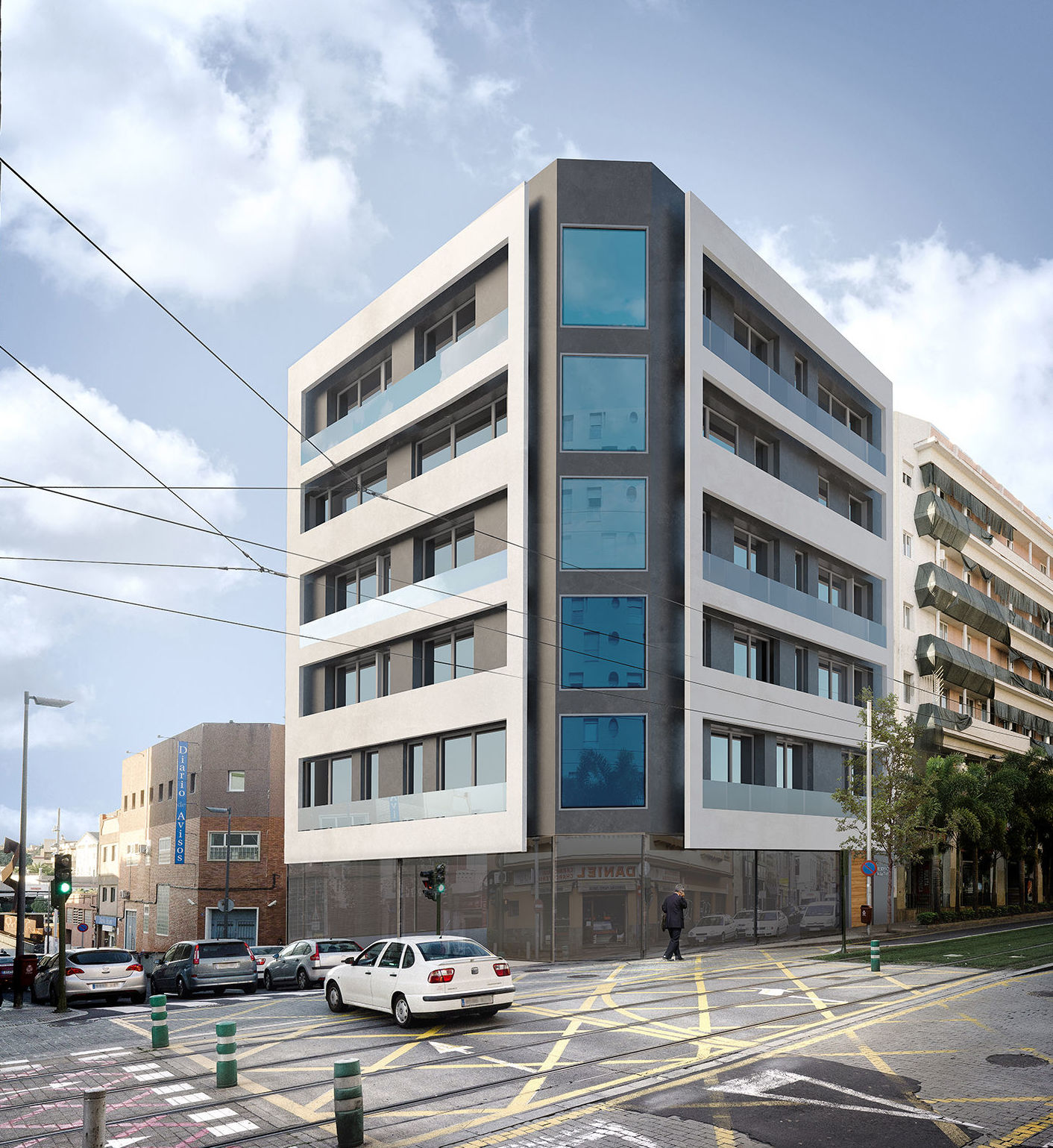 Edificio de viviendas, locales y aparcamientos. Perspectiva.