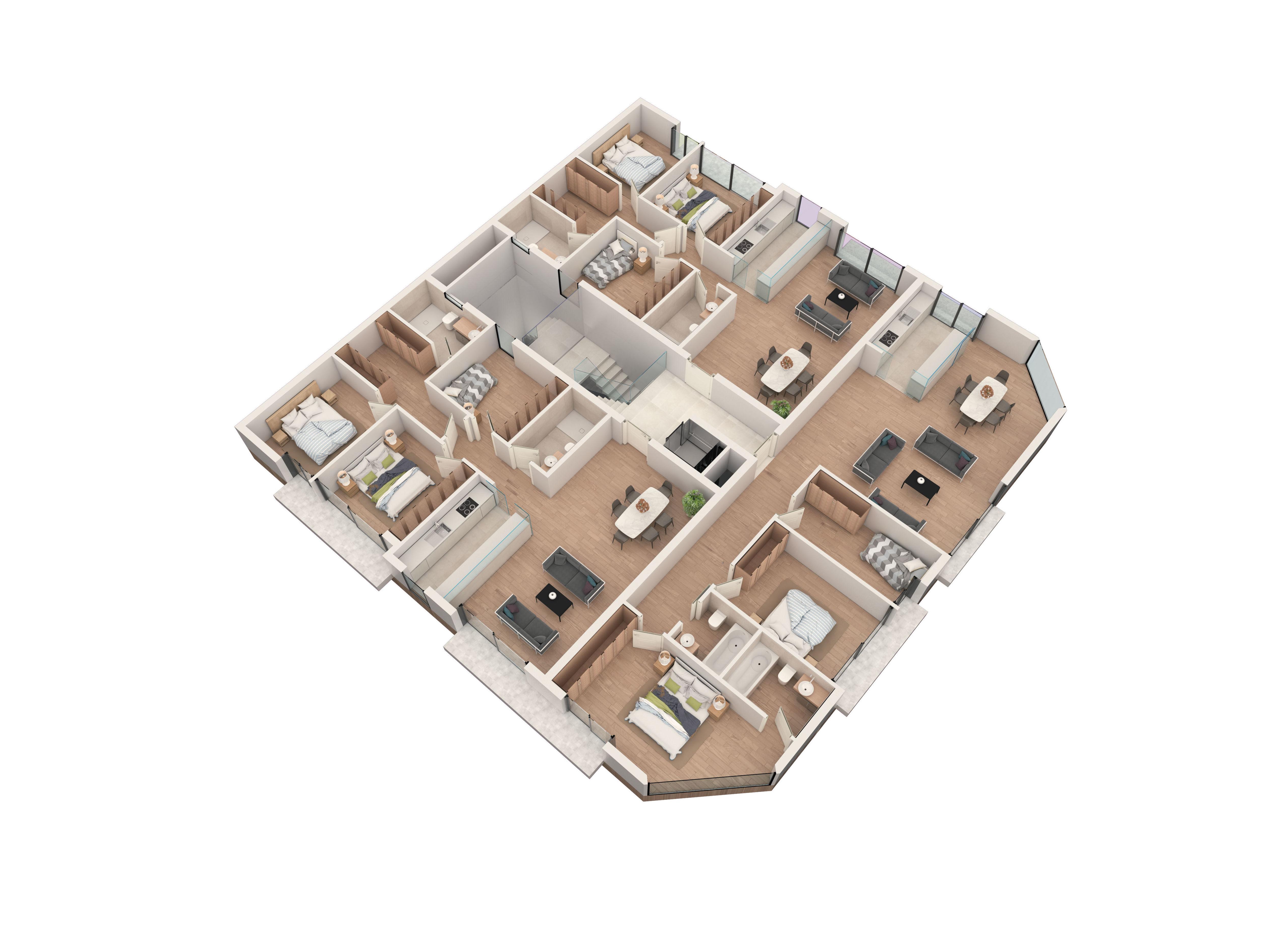 Edificio de viviendas. Planta de 3 viviendas.