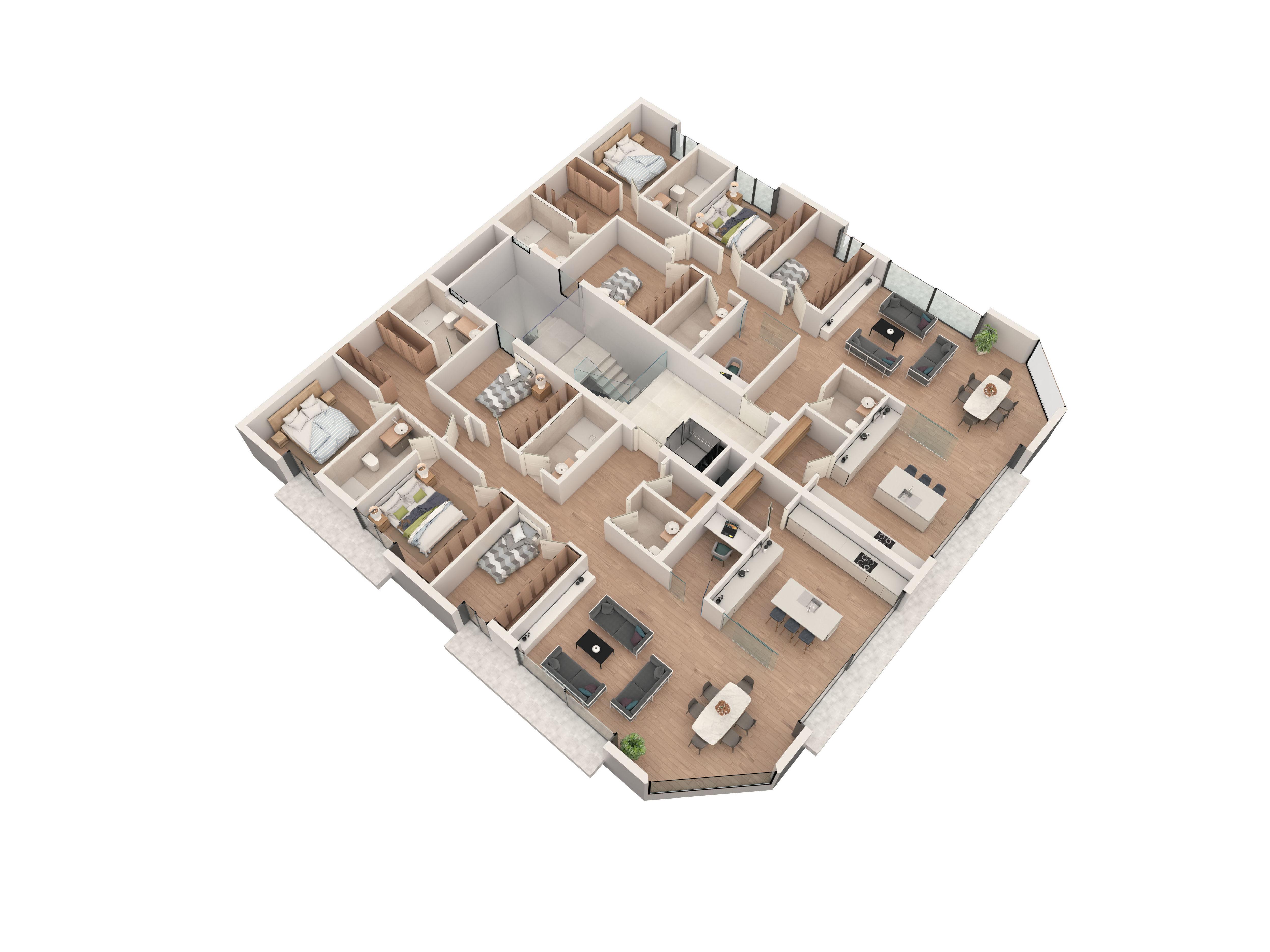 Edificio de viviendas. Planta de 2 viviendas.