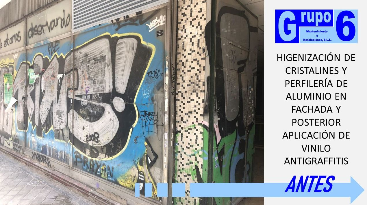 HIGIENIZACIÓN DE CRISTALES E INSTALACIÓN DE VINILO ANTIGRAFFITIS EN MADRID