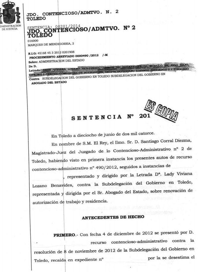 Recurso estimado por denegación de renovación de residencia: Áreas Profesionales de Vizano Abogados