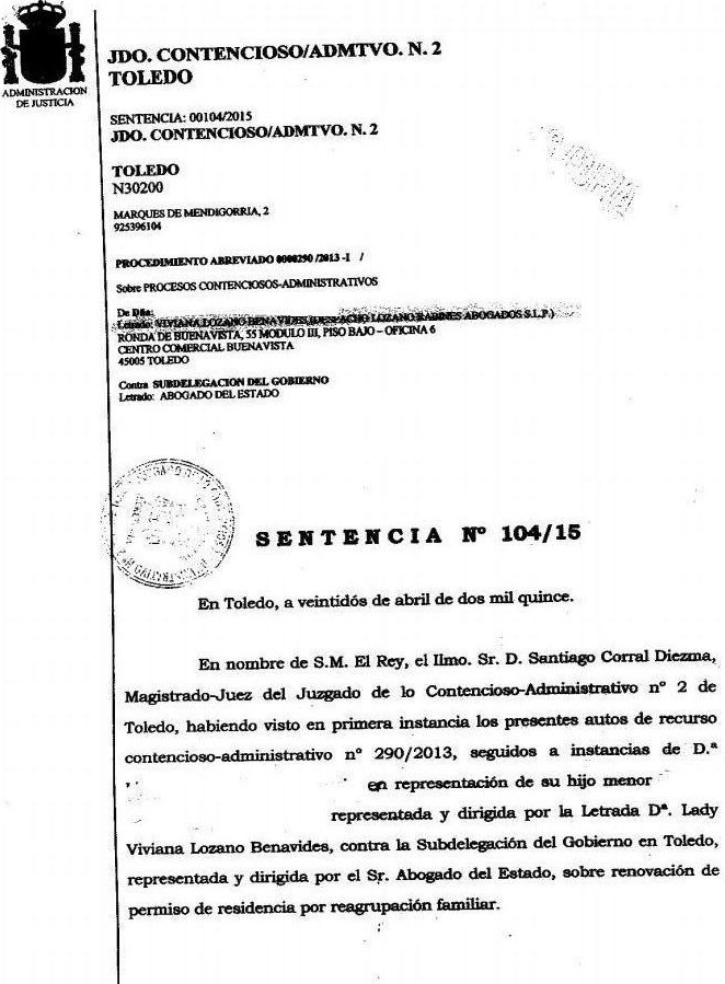 Recurso estimado por denegaci n de renovaci n por for Oficina extranjeria toledo