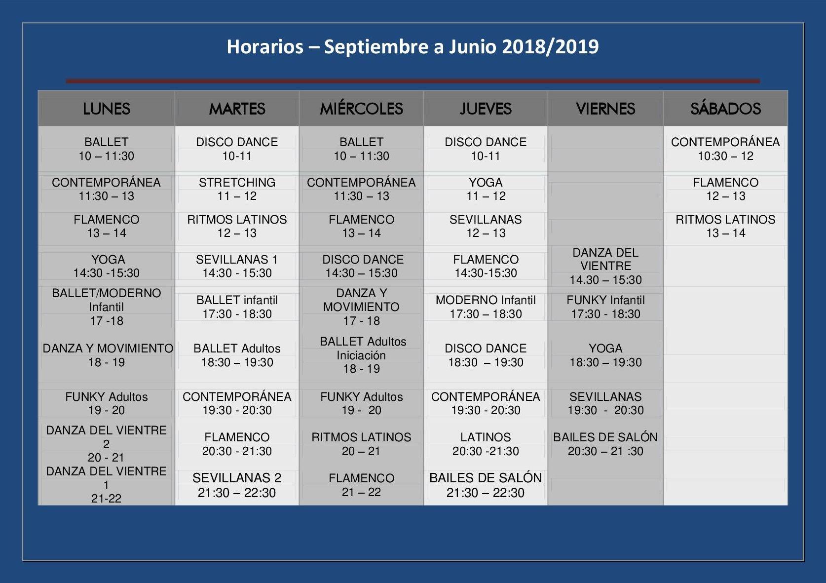Horarios curso 2018-2019