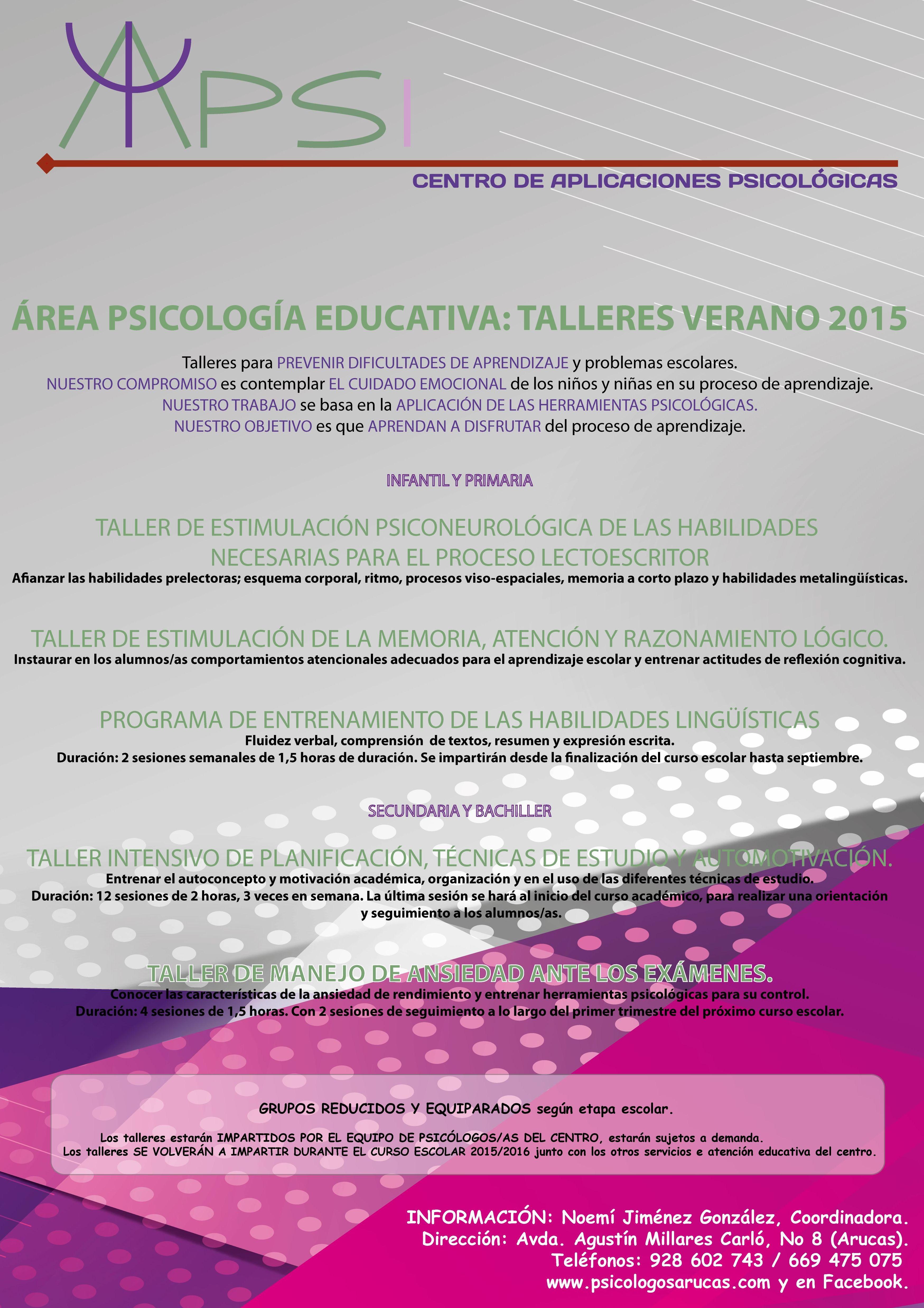 Foto 5 de Psicólogos en Arucas | APSI-Centro de Aplicaciones Psicológicas